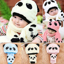 Winter Baby Toddler Boy Girl Warm Cute Panda Hat Cap Beanie Scarf Set Kids Child