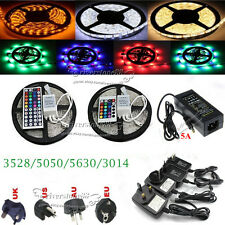 5M 300LEDs SMD 3528 5050 5630 3014 RGB LED Strip Lights 24/44key+ 2A/5A Adapter