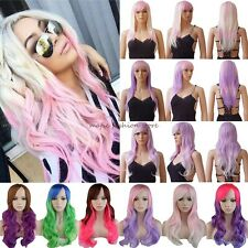 Women Long Curly Straight Full Wigs Cosplay Party Fancy Dress Heat Resistant F35