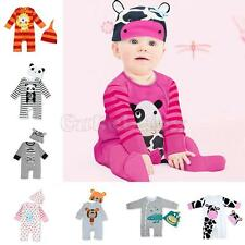 New Baby Boy Girl Warm Infant Bodysuit Long Sleeve Romper Hat Set Outfit Clothes