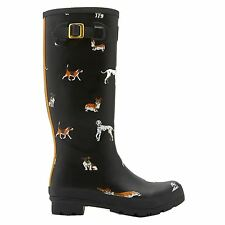 Joules Wellies Animal Print Black Multi Womens Boots