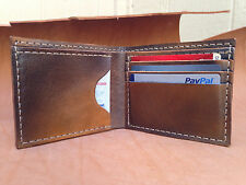 hand made genuine solid leather men wallet fire brown hand coloring last long