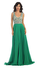 Long Prom Dresses Elegant Chiffon Embellished Top Formal Pageant Gown