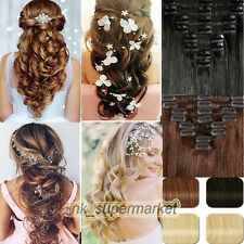 Real Remy Human Hair Weft Clip in Human Hair Extensions Black Blonde Brown hyp