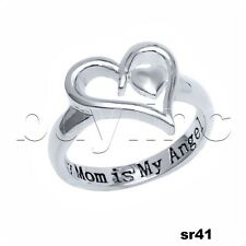 Mothers Heart Ring My Mom is My Angel Purity Sterling Silver 925 Infinity Ring
