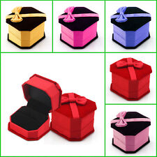 Hot Colorful Velvet Ring Earring Jewelry Display Gift Box Bowknot Square Case