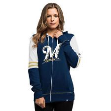 Majestic Milwaukee Brewers Women's Navy Big Time Attitude Full-Zip Hoodie