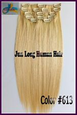 Bleach Blonde 100g Remy Human Hair Clip In Real Hair Extensions Any Length 8pcs