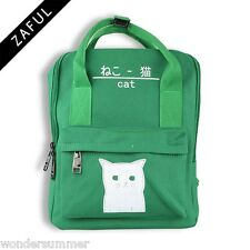 Womens Canvas Backpack Bag Schoolbag Bookbag Tote Campus Cute Cat Stitch 4Colors
