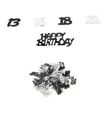 21st Birthday Party Supplies Confetti Black Silver Table Scatters Decorations JC