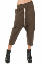 RICK OWENS DRKSHDW New Woman Brown DRAWSTRING CROPPED Pants Trousers Made Italy