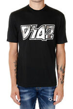DSQUARED2 New Men Black Tee Cotton T-shirt Logo Round Neck Made Italy NWT