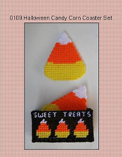 Halloween Candy Corn Coasters-Plastic Canvas Kit or Pattern