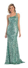 Long Prom Dresses Dazzling One Shoulder Style Sequins Formal Pageant Gown
