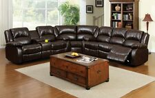 Dark Brown Recliners Sectional Sofa Transitional Bonded Leather Plush Cushioned