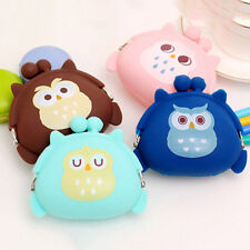 Cute Girls Coin Purse Owl Print Silicone Wallet Change Purse Keyring Pouch Cute
