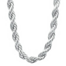Men's 8 mm Rhodium Plated French Rope Chain Silver Look Twisted Hip Hop Necklace