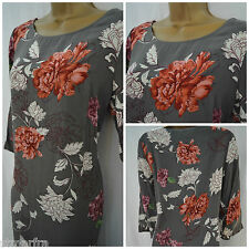 NEW M&S MARKS & SPENCER DRESS TUNIC SHIFT GREY ORANGE PEACH FLORAL SIZE 10 - 16