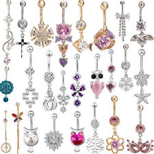 Popular Navel Belly Ring Bow Rhinestone Button Bar Barbell Body Piercing Jewelry