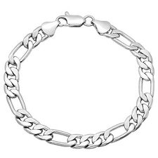7mm Wide White 14K Gold Layered Figaro Link Bracelet with Lobster Clasp