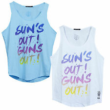Friend Or Faux Suns Out Guns Out Mens Summer Vest Tank Top Drop Arm Muscle Tee