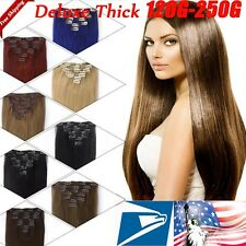 Indian Clip in Human Hair Extensions Deluxe Thick Full Head Double Weft US SU285