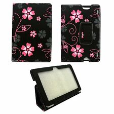 BLACK CASE WITH PINK AND GREY FLOWER SWIRLPU LEATHER CASE FOR AMAZON KINDLE HDX