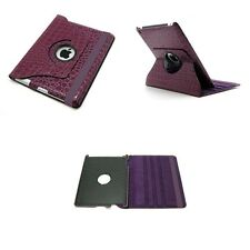 PURPLE CROCODILE LEATHER 360 DEGREE ROTATING CASE FOR IPAD 2 3 4 WITH SLEEP WAKE