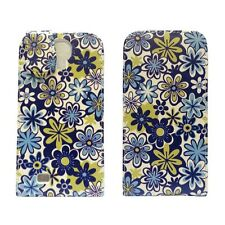 WHITE BLUE AND GREEN FLORAL PRINT FLIP LEATHER CASE FOR SAMSUNG GALAXY S4 MINI