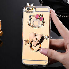 Mirror Hello Kitty Soft Bling Diamond Ring Stand Cases for Iphone 5 5s 6 6s Plus