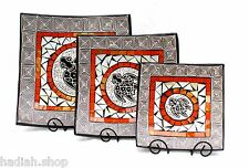 Hand Made Gorgeous White & Orange Turtle Square Glass Mosaic Terracotta Bowl