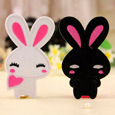 2pcs Embroidered Cloth Iron On Patch Motif Applique Sew Couple Cute Rabbit TUS