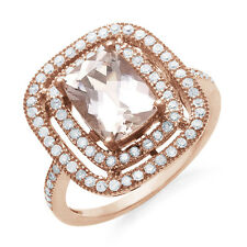 2.70 Carat Genuine Morganite & Diamond Ring in Rose Gold-Plated Sterling Silver