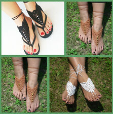Barefoot Sandals Crochet Yoga Wedding Foot Jewelry Anklet Cotton Bracelet Chain