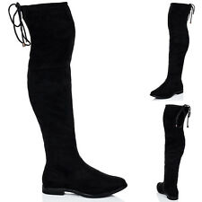 Womens Lace Up Flat Thigh Boots Sz 5-10