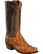 Lucchese N1144 Mens Cognac Exotic Pirarucu Fish Leather Western Cowboy Boots