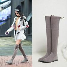 Womens Flat Suede Leather Over Thigh Knee High Boot Slouch Pull On Shoes Plus Sz