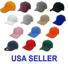 NWT WHOLESALE LOT 12-96  Plain Blank Baseball Caps/Hats Adjustable Back Strap