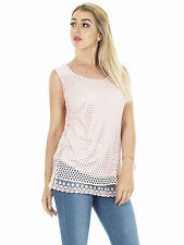 Womens Lagenlook Layered Italian Mesh Lace Tunic Top Plus Size
