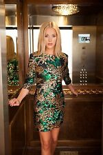 New Women Ladies 3/4th Sleeves SEQUIN LEAF PRINT Party Bodycon Dress UK 8-14