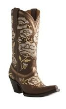 Lucchese M4857 Women Whiskey Embroidered Roses Calf Leather Western Cowboy Boots