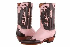 Lucchese N7557 44 Womens Pink Goat Buffalo Leather Western Cowboy Boots