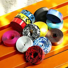 Road Racing Bike Bicycle Cycling Cork Handlebar Wrap Ribbon Tape Strap Bar Plugs