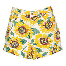 Ladies Vintage High Waisted Denim Shorts Sunflower Print Size 10 12 14 (sh50)