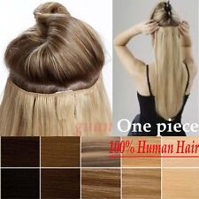 1Pcs Clip In 100% Remy Human Hair Extensions 3/4Full Head Black Brown Blonde T24