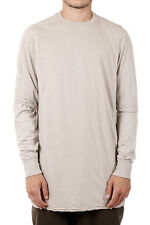 RICK OWENS DRKSHDW New Men Beige Long sleeve Tee HUSTLER LAYERED t-shirt NWT