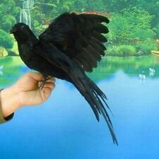 Fake Artificial Crow Raven Bird Realistic Taxidermy Home Garden DecorAS