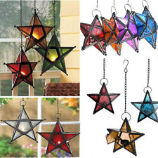 Metal Glass Hanging Wrought Iron Star Lantern Candle Tea Light Lamp Holder Decor