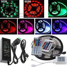 3528/5050 5M RGB SMD Light LED Strip 24Key IR Remote Controller Power Adapter