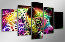 Framed Picture fractal rainbow leopard Canvas Wall Art Painting Decor Home Photo